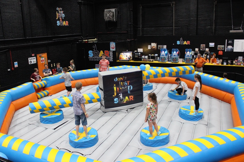 The wipeout zone at SOAR Trampoline Park